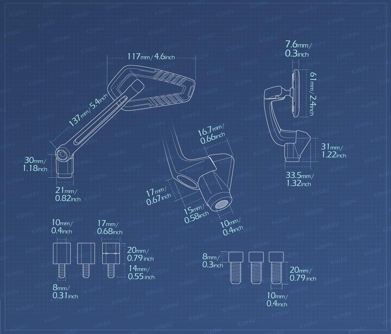 Measurement of KiWAV motorcycle mirrors Blade compatible for most modern Vespa models, GTS/ GTV/ LX/ LT/ LXV/ S