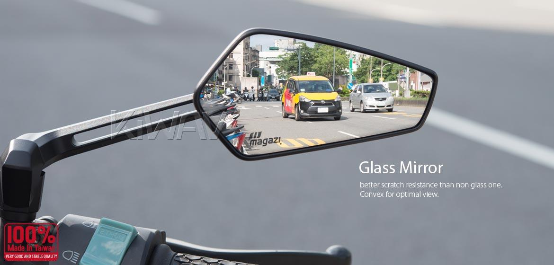 KiWAV motorcycle mirrors Blade black compatible for most modern Vespa models, GTS/ GTV/ LX/ LT/ LXV/ S