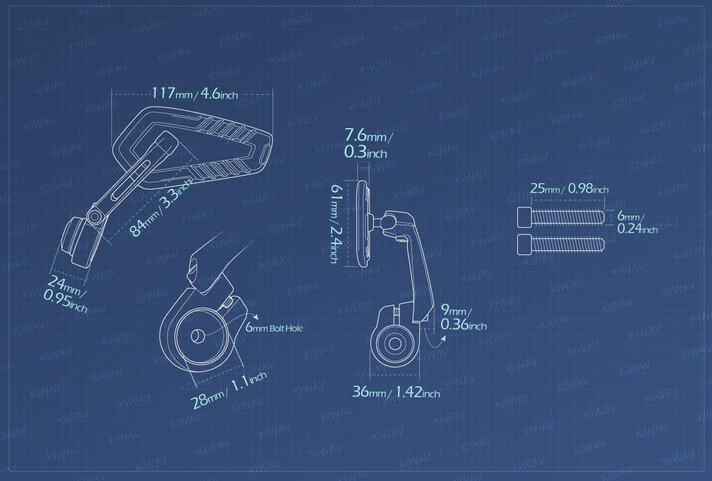 Measurement of KiWAV motorcycle bar end mirrors Blade compatible for Moto Guzzi