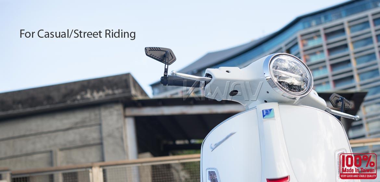 KiWAV motorcycle bar end mirrors Blade black compatible with some Vespa models, GTS/ GTV/ GT