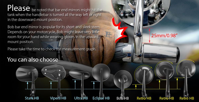 Bob chrome bar end mirrors universal fit w/ 6mm threaded or hollow bar