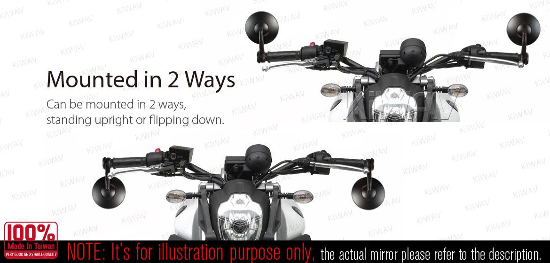 KiWAV motorcycle bar end mirrors Bob chrome for BMW