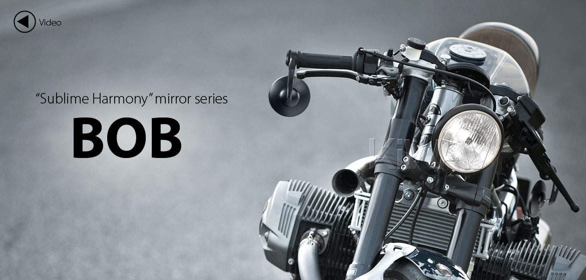 KiWAV motorcycle bar end mirrors Bob black for BMW