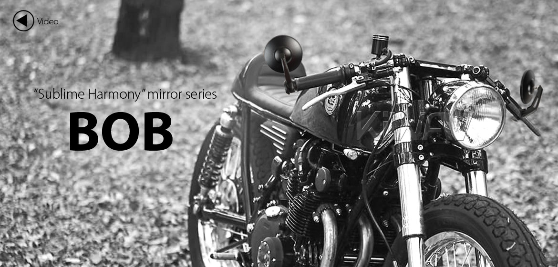 KiWAV round bar end mirrors Bob black for 1 inch and 7/8 inch hollow end handlebars