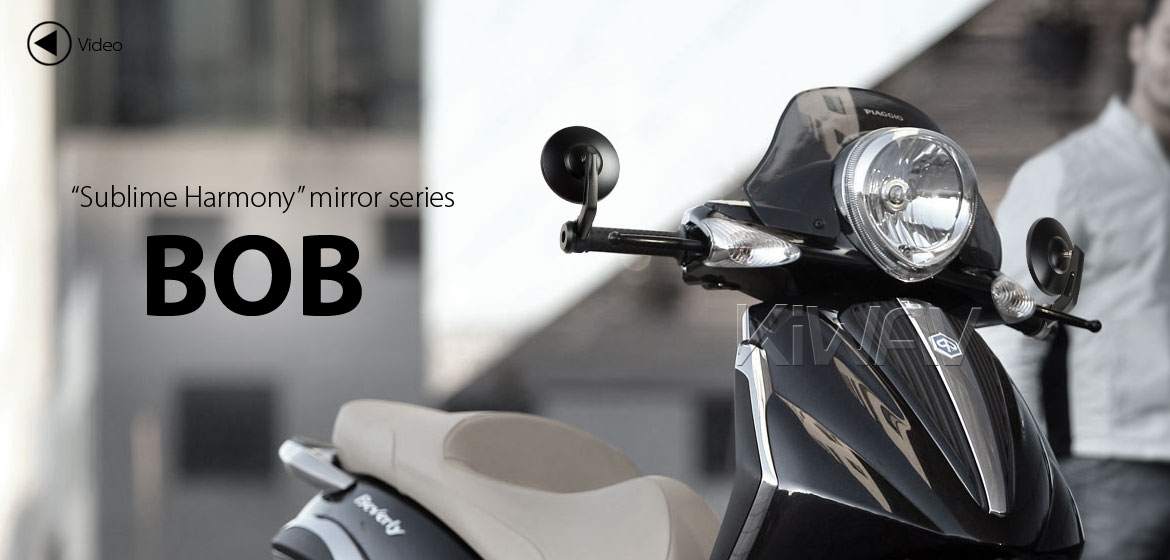 KiWAV motorcycle bar end mirrors Bob black universal fit w/ 6mm threaded or hollow bar