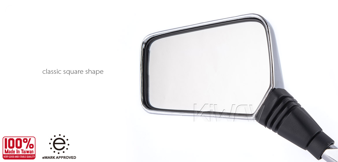 Magazi Brick chrome 8mm mirrors a pair for motorcycle, golf cart