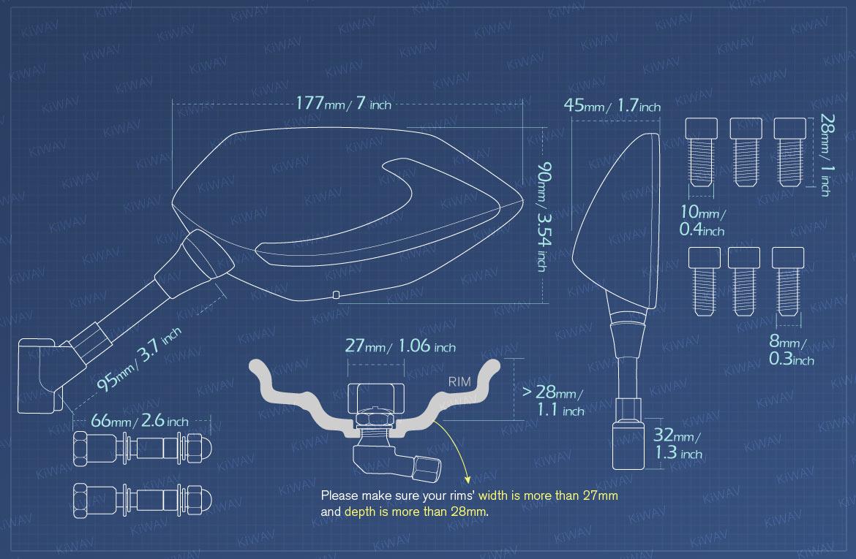 Measurement of KiWAV motorcycle mirrors BuckTPMS for Harley