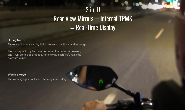 KiWAV motorcycle mirrors with TPMS Buck black sportsbike
