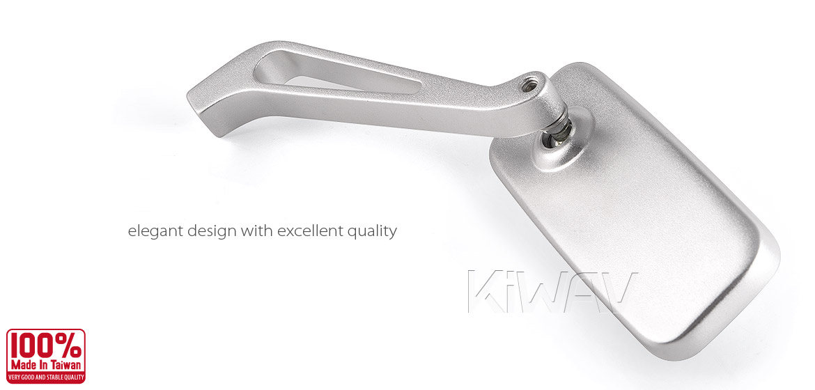 KiWAV Magazi Classic motorcycle mirrors scooter silver