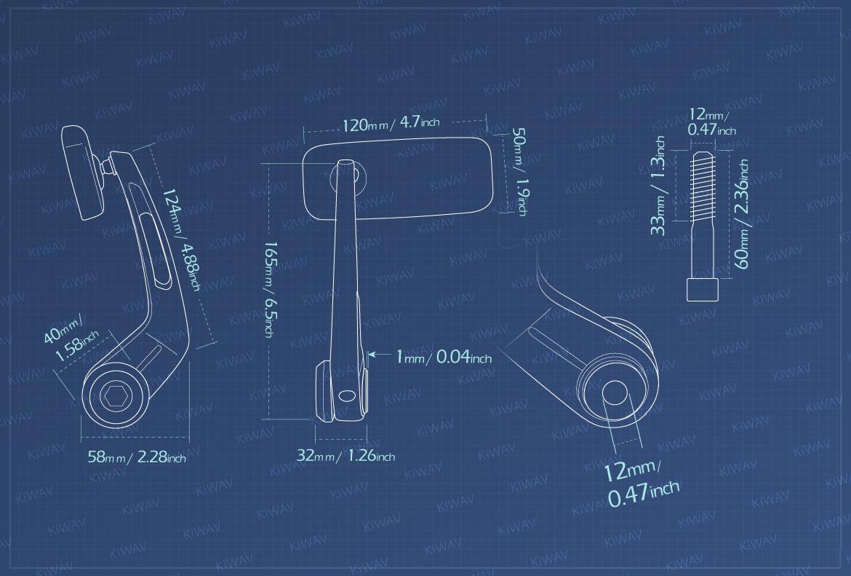 Measurement of KiWAV Classic motorcycle bar end mirrors