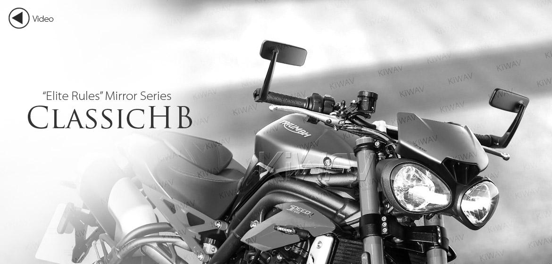 KiWAV ClassicHB black motorcycle bar end mirrors