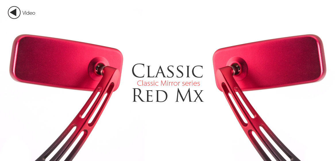 KiWAV Magazi ClassicMX motorcycle mirrors scooters red