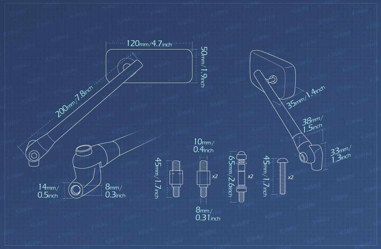 Measurement of KiWAV motorcycle mirrors Classic Plus 10mm universal