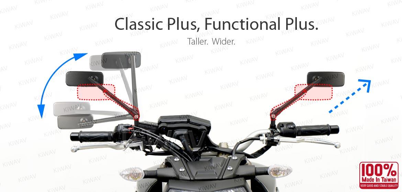KiWAV motorcycle mirrors ClassicPlus black 10mm universal fit