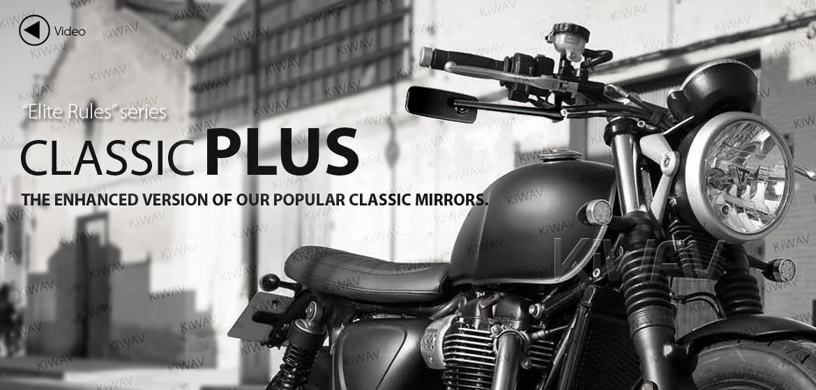 Motorcycle Aspheric Lens Mirrors Classic Plus Black for BMW 10mm 1.5 Pitch