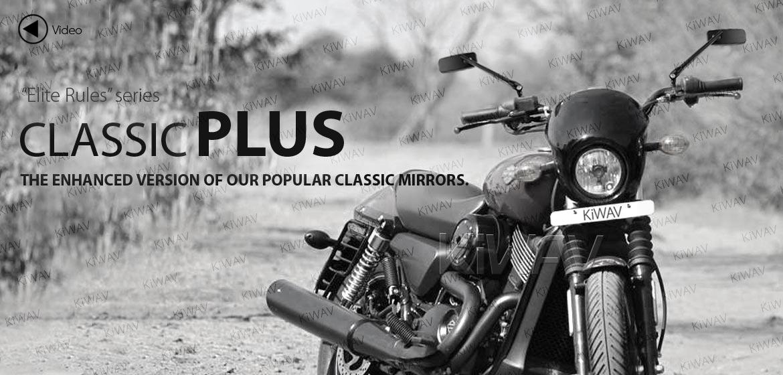 KiWAV motorcycle mirrors ClassicPlus black for Harley Street 500 750