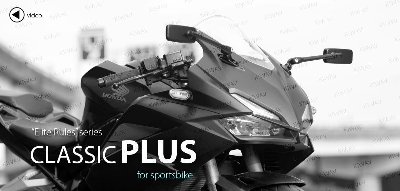 KiWAV motorcycle mirrors ClassicPlus black sportsbike mirrors with black base