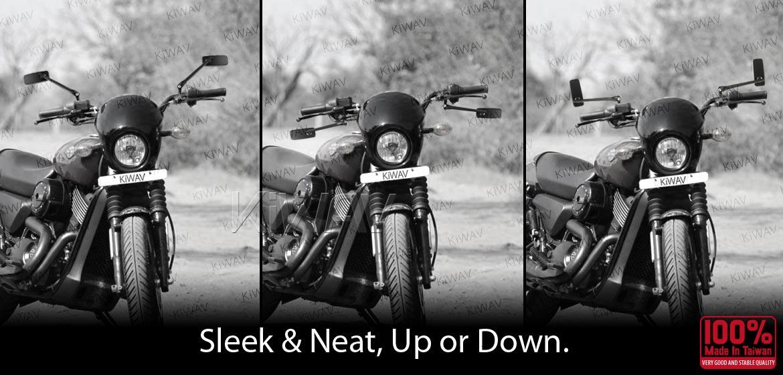 KiWAV motorcycle mirrors ClassicPlus chrome 10mm universal fit
