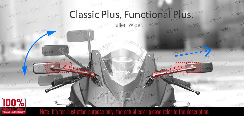 KiWAV motorcycle mirrors ClassicPlus black sportsbike mirrors with chrome base
