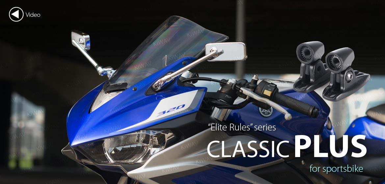 KiWAV motorcycle mirrors ClassicPlus chrome sportsbike mirrors with black base
