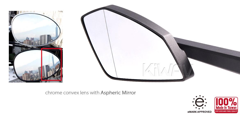 KiWAV Magazi Cleaver CNC aluminum motorcycle mirrors universal black