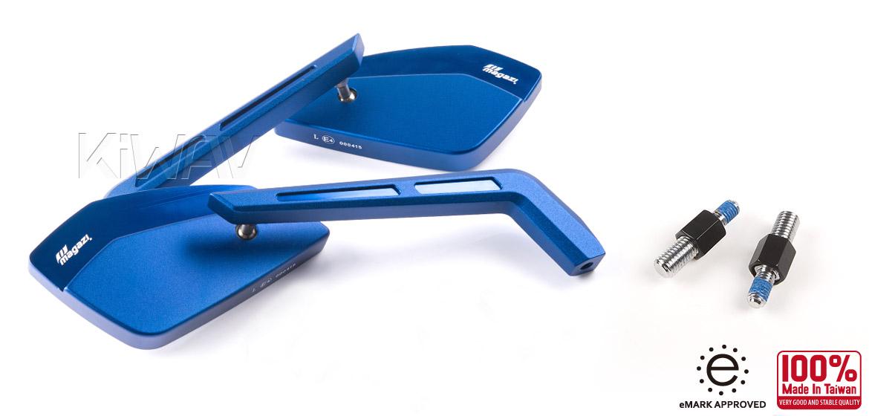 KiWAV Magazi Cleaver CNC aluminum motorcycle mirrors BMW blue