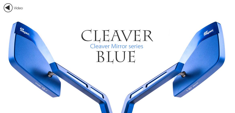 KiWAV Magazi Cleaver CNC aluminum motorcycle mirrors universal blue