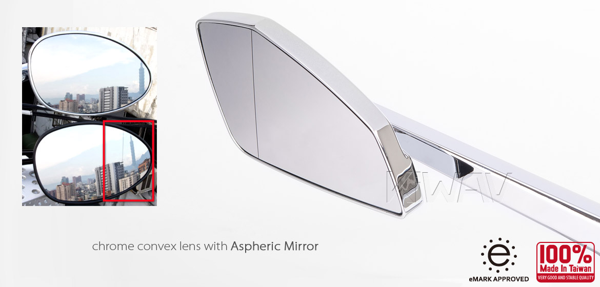 KiWAV Magazi Cleaver CNC aluminum motorcycle mirrors Scooter chrome