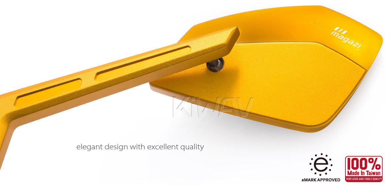 KiWAV Magazi Cleaver CNC aluminum motorcycle mirrors BMW gold