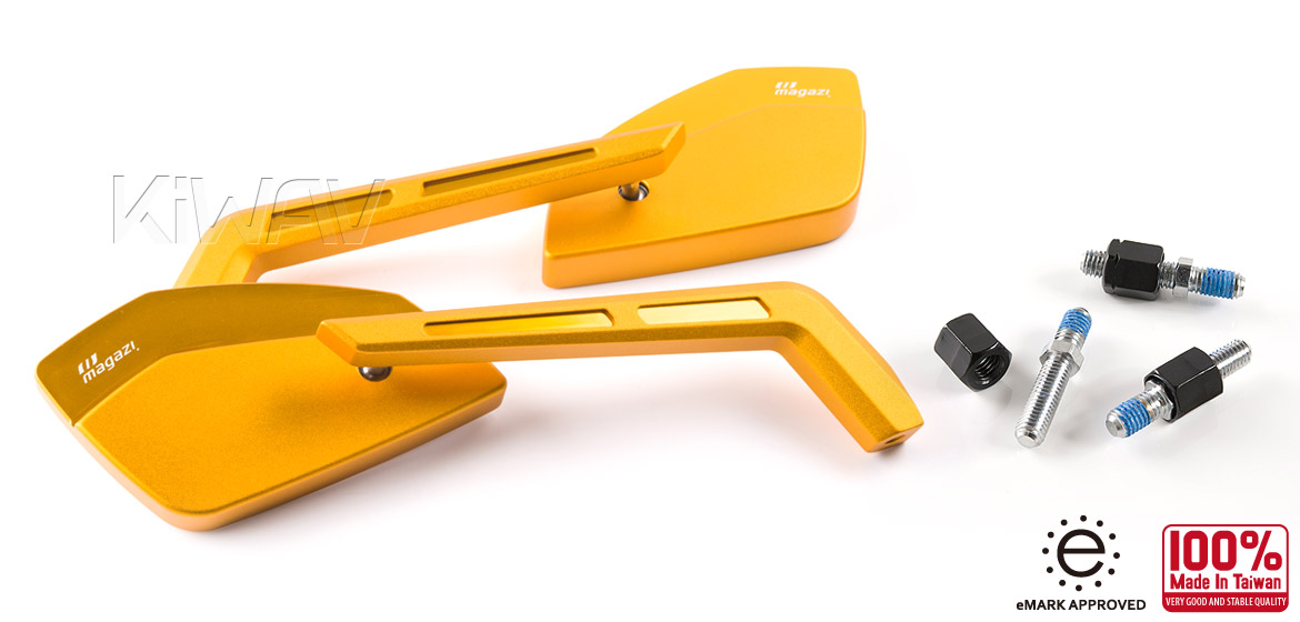 KiWAV Magazi Cleaver CNC aluminum motorcycle mirrors Scooter gold