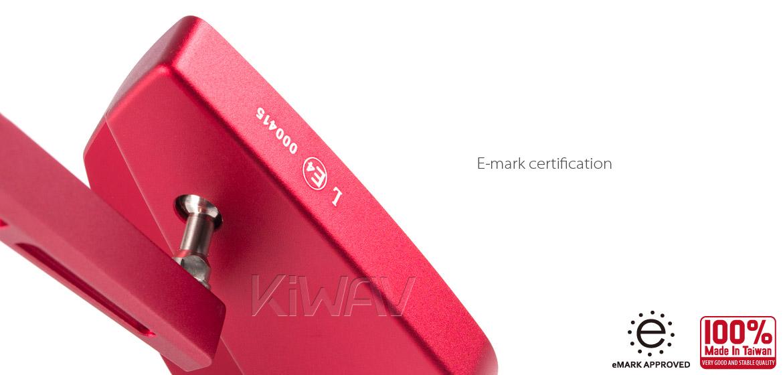 KiWAV Magazi Cleaver CNC aluminum motorcycle mirrors universal red