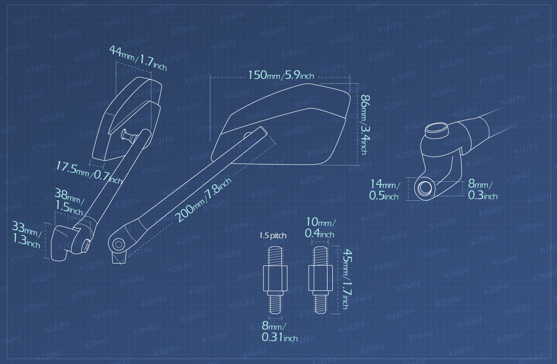 Measurement of KiWAV motorcycle mirrors CleaverII/black Metric 10mm for BMW bikes