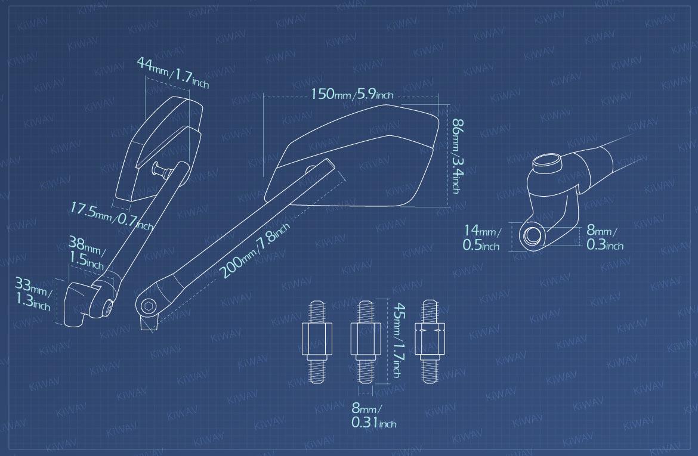 Measurement of KiWAV motorcycle mirrors CleaverII/black Metric 8mm for scooter bikes