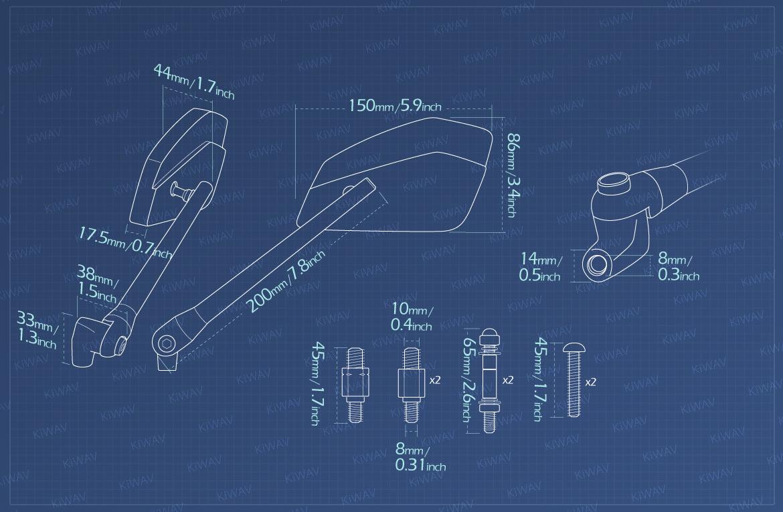 Measurement of KiWAV motorcycle mirrors CleaverII/black Metric 10mm Harley bikes