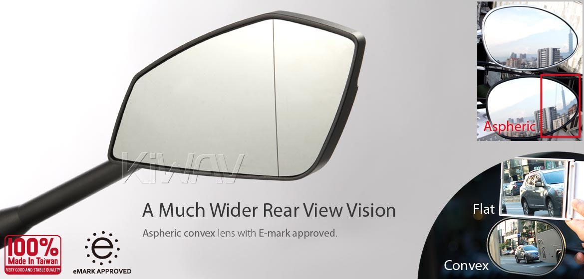 KiWAV motorcycle mirrors CleaverII black 10mm for BMW, Magazi
