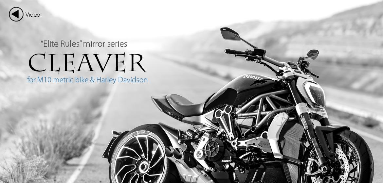 KiWAV motorcycle mirrors CleaverII black 10mm, Harley, Magazi