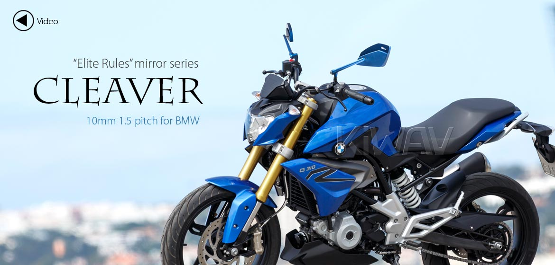 KiWAV motorcycle mirrors CleaverII blue 10mm for BMW, Magazi