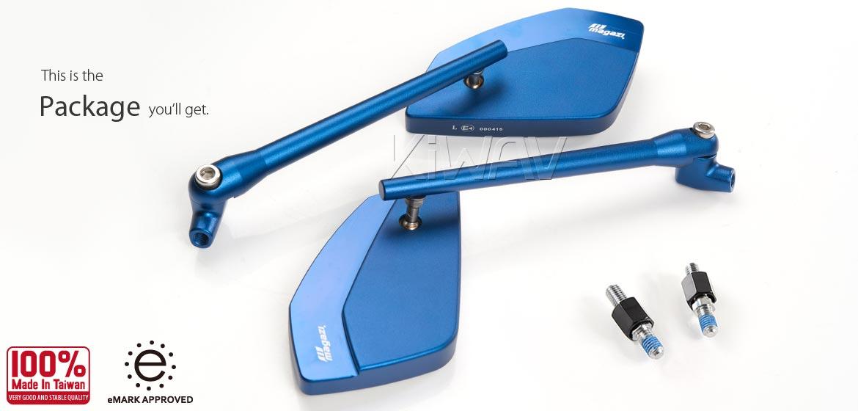 KiWAV motorcycle mirrors CleaverII blue for Harley Davidson Street 500/750, Magazi
