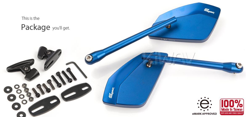 KiWAV motorcycle mirrors CleaverII blue fairing mount w/ new ver. black adapter, Magazi