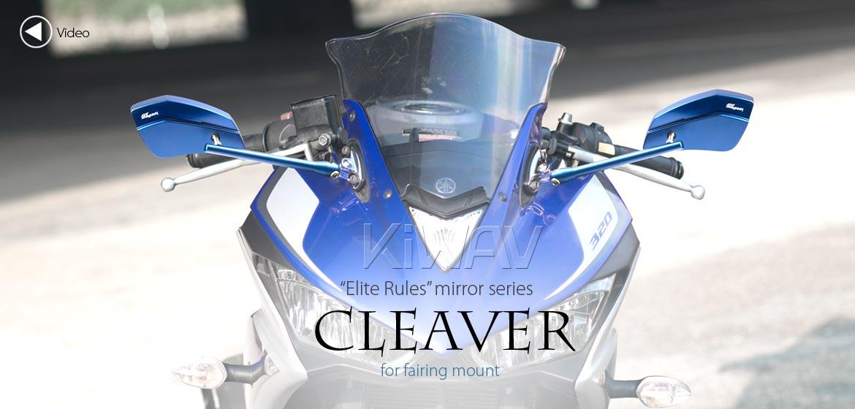 KiWAV motorcycle mirrors CleaverII blue fairing mount w/ new ver. chrome adapter, Magazi