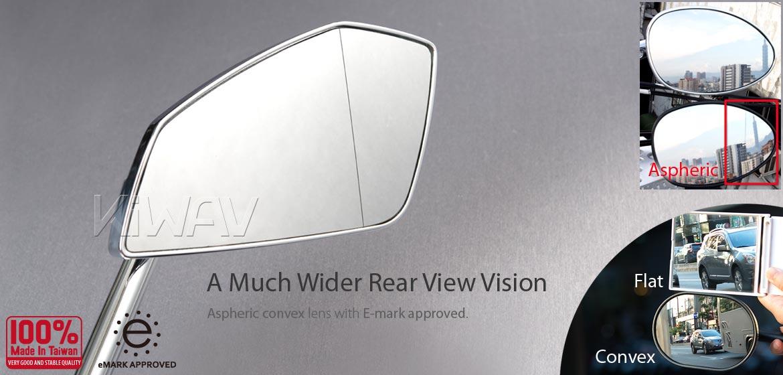 KiWAV motorcycle mirrors CleaverII chrome fairing mount w/ new ver. black adapter, Magazi