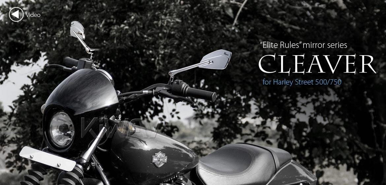KiWAV motorcycle mirrors CleaverII chrome for Harley Davidson Street 500/750, Magazi