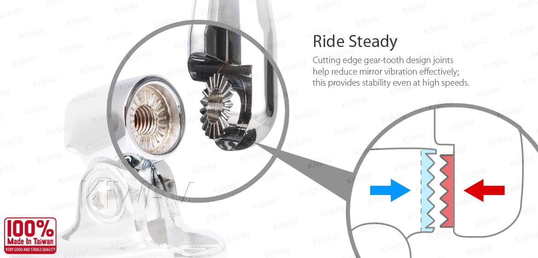KiWAV motorcycle mirrors CleaverII chrome fairing mount w/ new ver. chrome adapter, Magazi