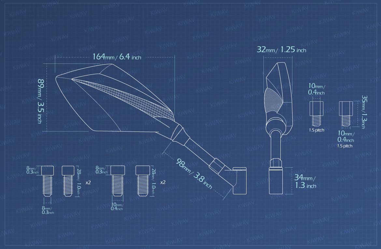 Measurement of KiWAV motorcycle mirrors Deus for BMW 10mm 1.5 pitch