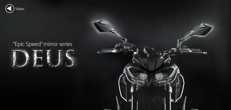 KiWAV motorcycle mirrors Deus carbon for Metric 10mm & 8mm bikes