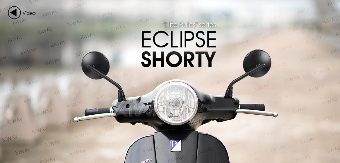 KiWAV motorcycle mirrors Eclipse black steel short stem for metric 8mm scooters Magazi