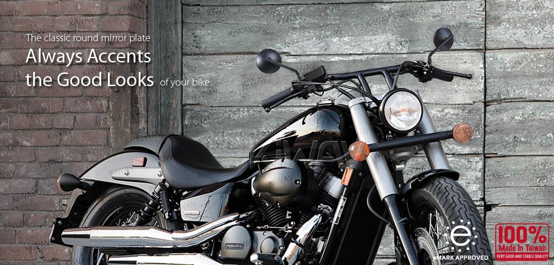 KiWAV motorcycle mirrors Eclipse black steel short stem for Metric 8/mm10mm bikes Magazi
