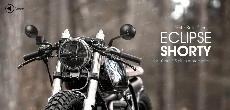 KiWAV motorcycle mirrors Eclipse black steel short stem for BMW 10mm 1.5 pitch bikes Magazi