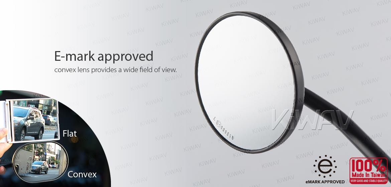 KiWAV ATV rear view mirrors Eclipse black for 7/8 inch handlebar mount with black aluminum clips