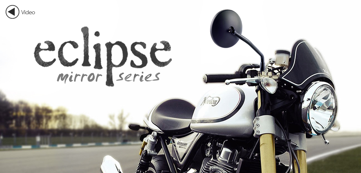 KiWAV Eclipse black motorcycle mirrors fit scooter